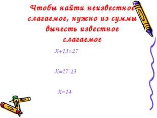 Чтобы найти неизвестное слагаемое, нужно из суммы вычесть известное слагаемое