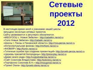 Сетевые проекты 2012 В настоящее время мной и учениками нашей школы запущено