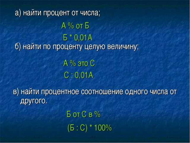 а) найти процент от числа; б) найти по проценту целую величину; в) найти про...