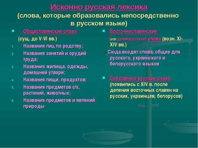 Исконно русская лексика (слова, которые образовались непосредственно в русско...