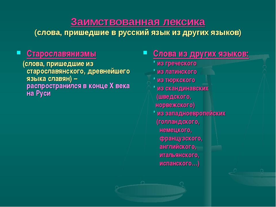 Заимствованная лексика (слова, пришедшие в русский язык из других языков) Ста...