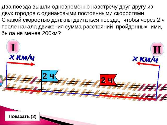 II Два поезда вышли одновременно навстречу друг другу из двух городов с одина...