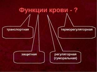 Функции крови - ? транспортная регуляторная (гуморальная) защитная терморегул