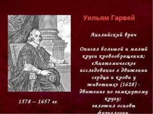 1578 – 1657 гг. Уильям Гарвей Английский врач Описал большой и малый круги кр