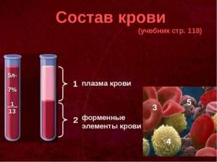 Состав крови (учебник стр. 118) 1 2 плазма крови форменные элементы крови 3 4