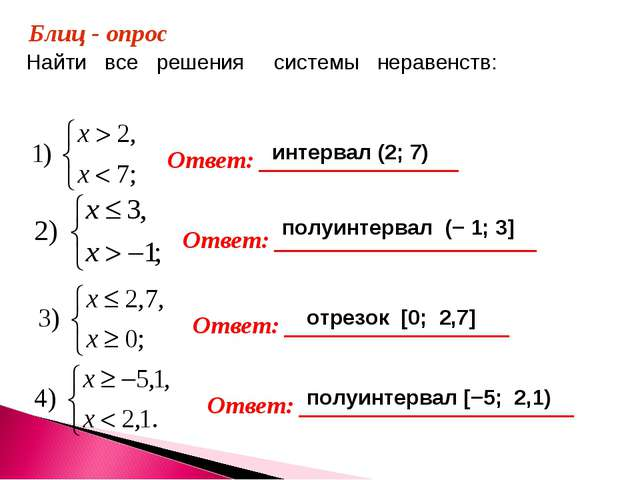 Найти все решения системы неравенств: Блиц - опрос Ответ: ________________ От...
