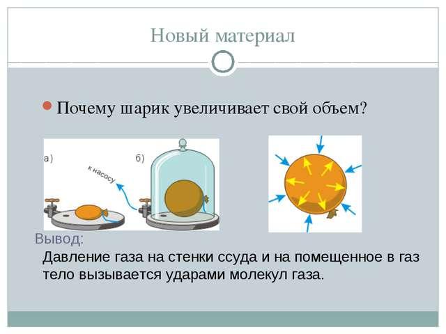 Новый материал Почему шарик увеличивает свой объем? Вывод: Давление газа на с...