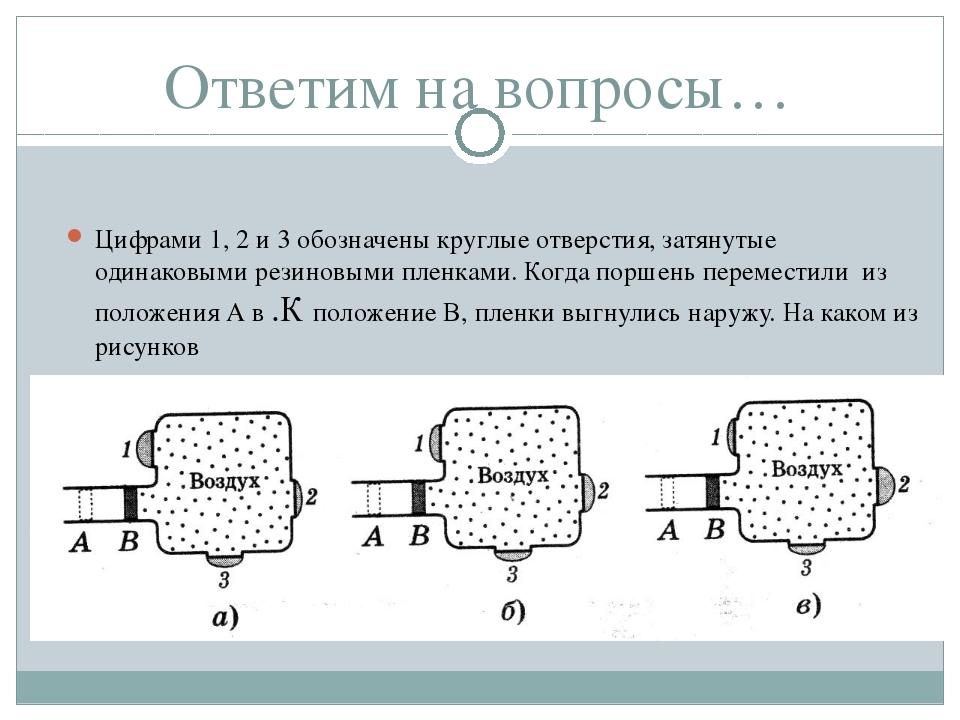 Ответим на вопросы… Цифрами 1, 2 и 3 обозначены круглые отверстия, затянутые...