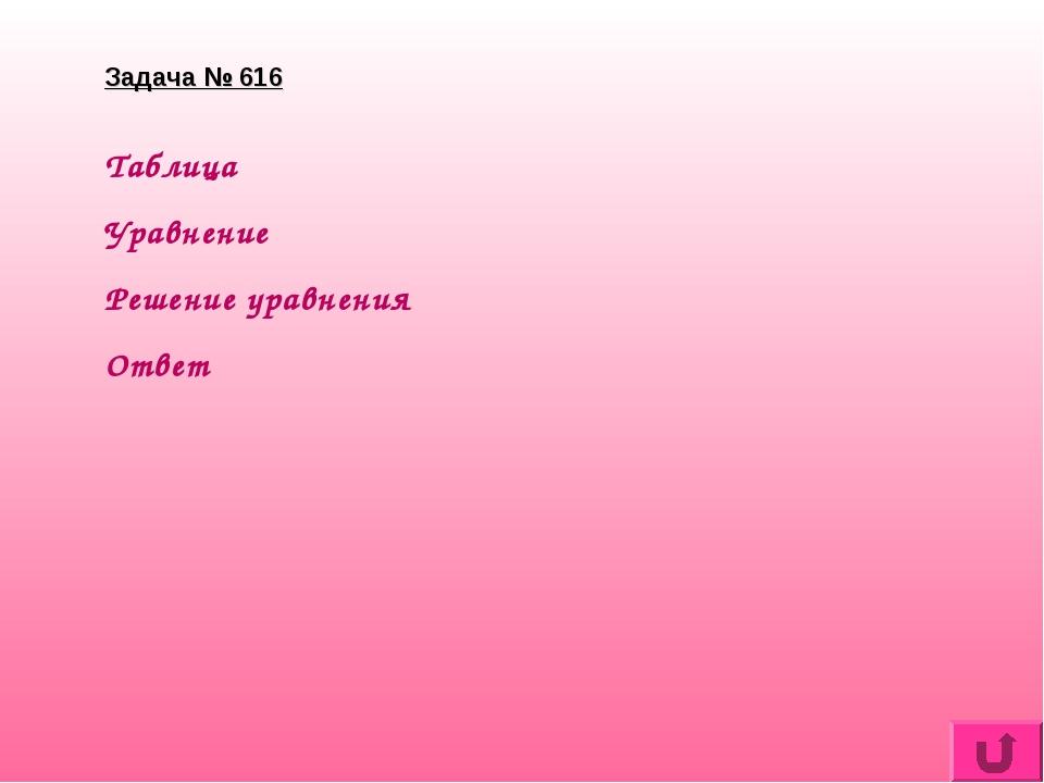 Задача № 616 Таблица Уравнение Решение уравнения Ответ