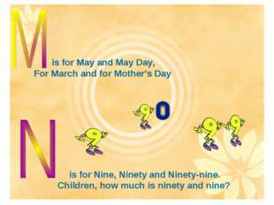 is for May and May Day, For March and for Mother's Day is for Nine, Ninety an