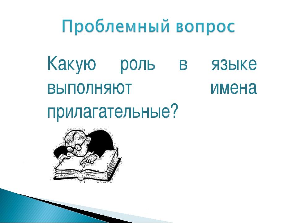 Какую роль в языке выполняют имена прилагательные?