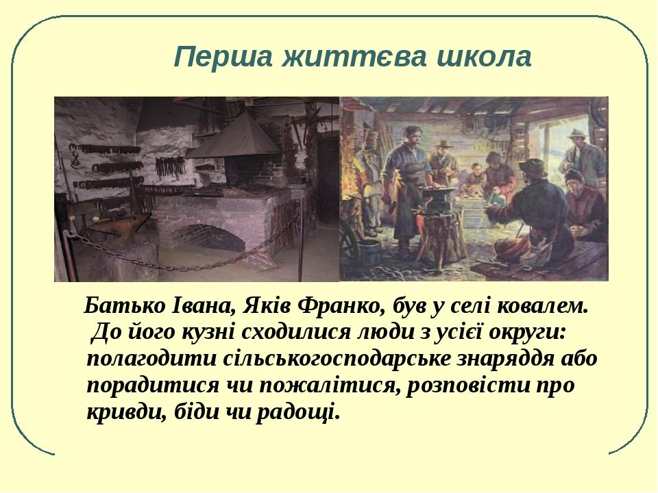 Перша життєва школа Батько Івана, Яків Франко, був у селі ковалем. До його к...