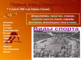 Первые игры современности 6 апреля 1896 года Афины (Греция) Австралия Австрия