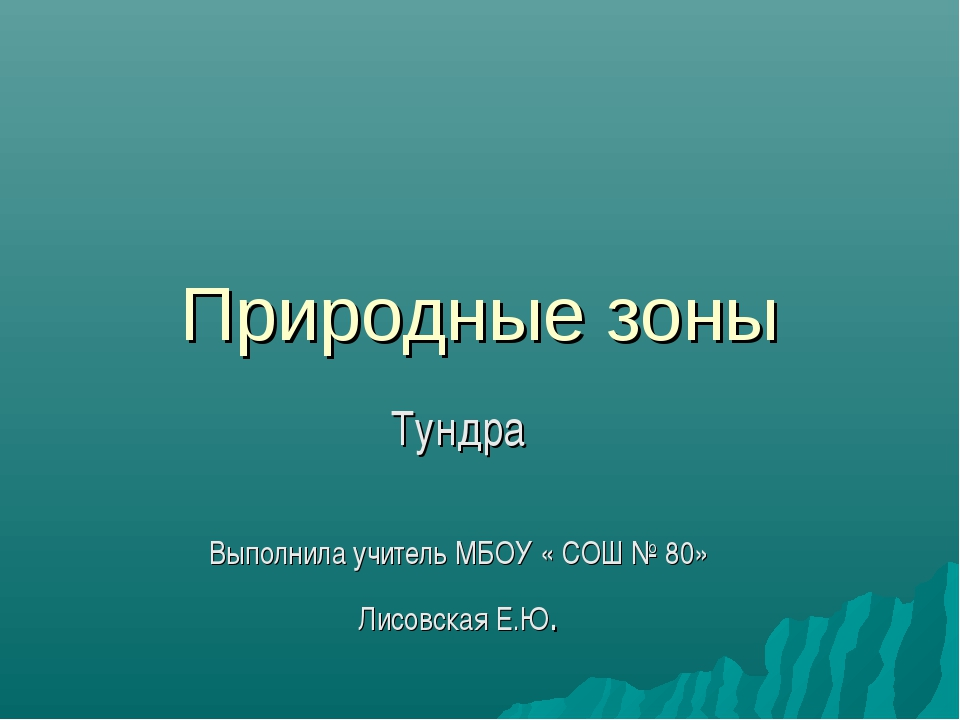 Природные зоны Тундра Выполнила учитель МБОУ « СОШ № 80» Лисовская Е.Ю.