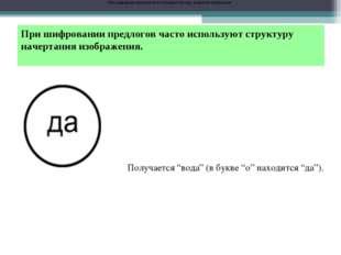При шифровании предлогов часто используют структуру начертания изображения. П