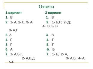 Ответы 1 вариант 2 вариант 1. В 1. В 2. 1- А, 2- Б, 3- А, 2. 1- Б,Г; 2- Д; 4