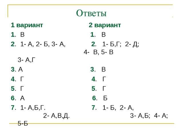 Ответы 1 вариант 2 вариант 1. В 1. В 2. 1- А, 2- Б, 3- А, 2. 1- Б,Г; 2- Д; 4...