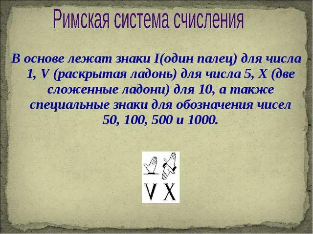 В основе лежат знаки I(один палец) для числа 1, V (раскрытая ладонь) для числ...