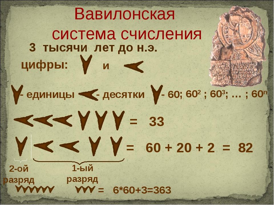 3 тысячи лет до н.э. - единицы - десятки = 33 цифры: и 2-ой разряд 1-ый разря...