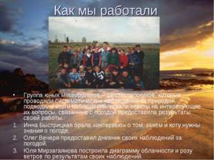 Как мы работали Группа юных метеорологов – шестиклассников, которые проводили