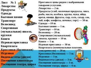 Лист № 1 Лекарства Продукты Одежда Бытовая химия Транспорт Велосипед Спортивн