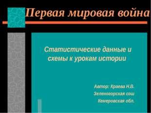 Первая мировая война Статистические данные и схемы к урокам истории Автор: Кр