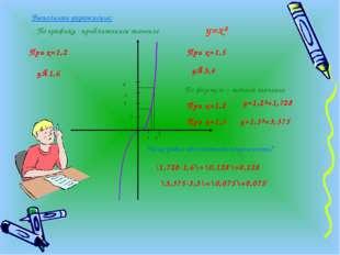 1 2 1 2 3 4 Выполните упражнение: При х=1,2 у≈1,6 При х=1,5 у≈3,4 По графику