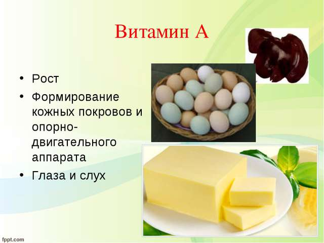 Витамин А Рост Формирование кожных покровов и опорно-двигательного аппарата Г...