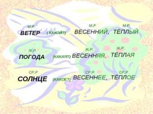 ВЕТЕР ( КАКОЙ?) М.Р. ВЕСЕННИЙ, ТЁПЛЫЙ М.Р М.Р ПОГОДА (КАКАЯ?) ВЕСЕННЯЯ, ТЁПЛ