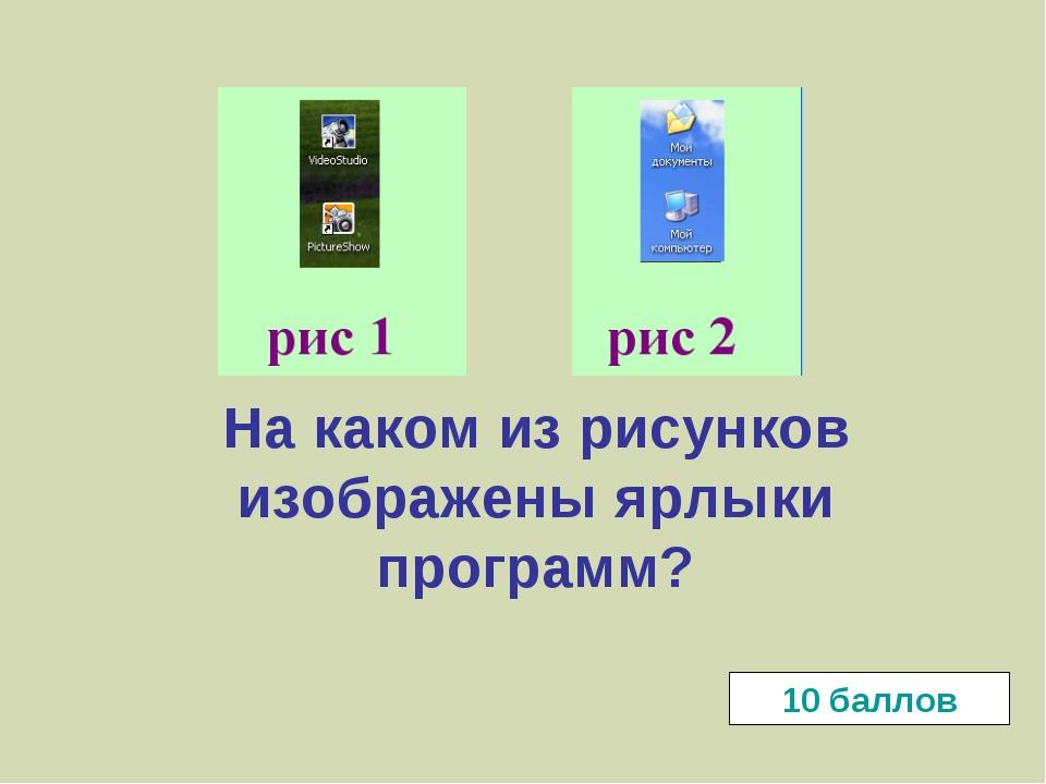 На каком из рисунков изображены ярлыки программ? 10 баллов