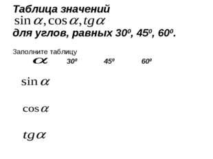 Таблица значений для углов, равных 300, 450, 600. Заполните таблицу