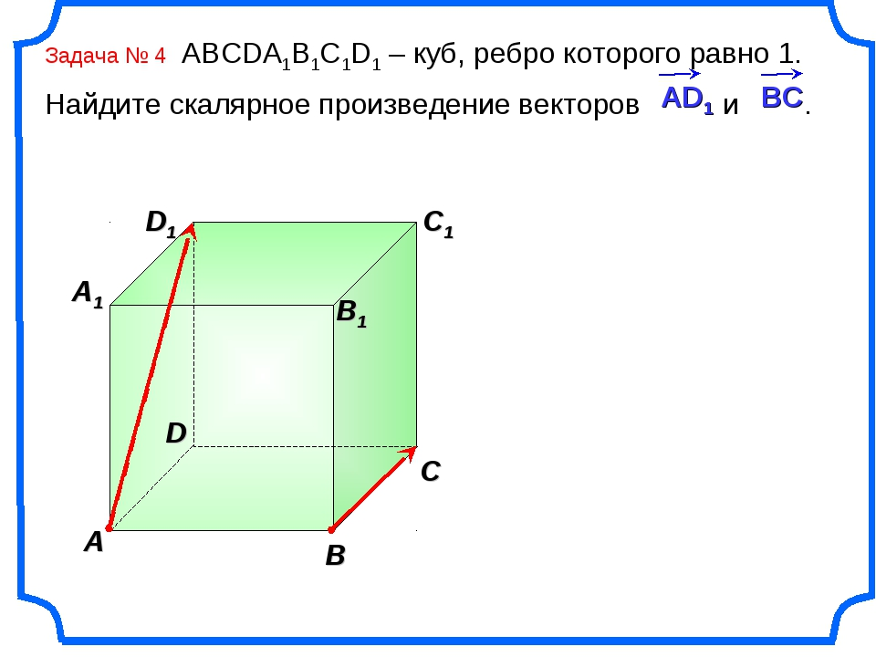 Задача № 4 ABCDA1B1C1D1 – куб, ребро которого равно 1. Найдите скалярное прои...