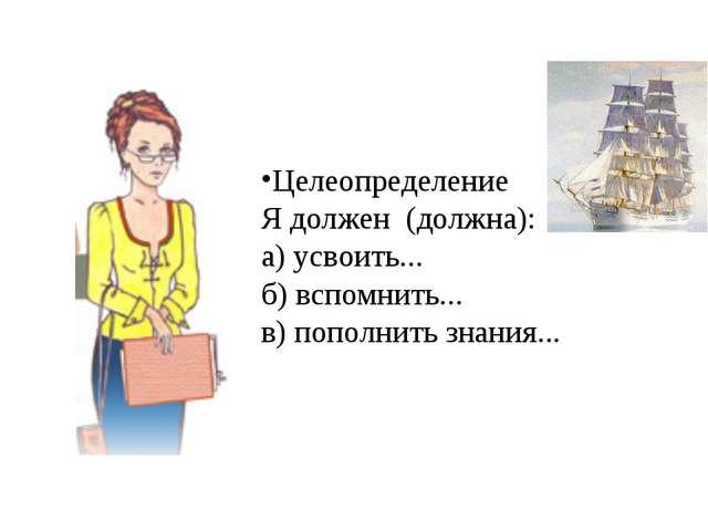 Целеопределение Я должен (должна): а) усвоить... б) вспомнить... в) пополнить...