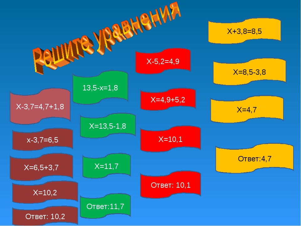 Х+3,8=8,5 13,5-х=1,8 Х-5,2=4,9 Х-3,7=4,7+1,8 Х=8,5-3,8 Х=4,7 Ответ:4,7 Х=4,9+...