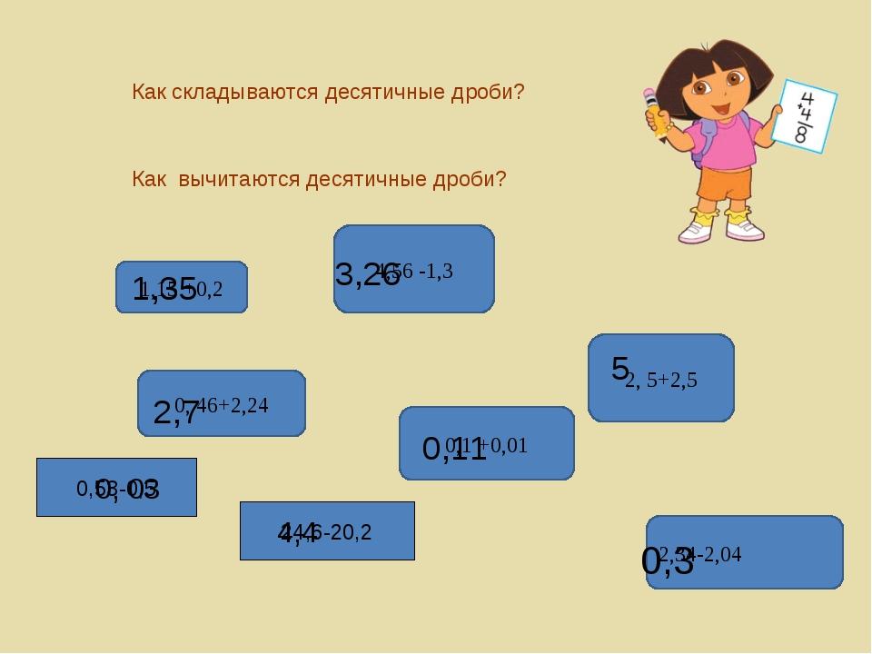 Как складываются десятичные дроби? Как вычитаются десятичные дроби? 1,15 +0,2...