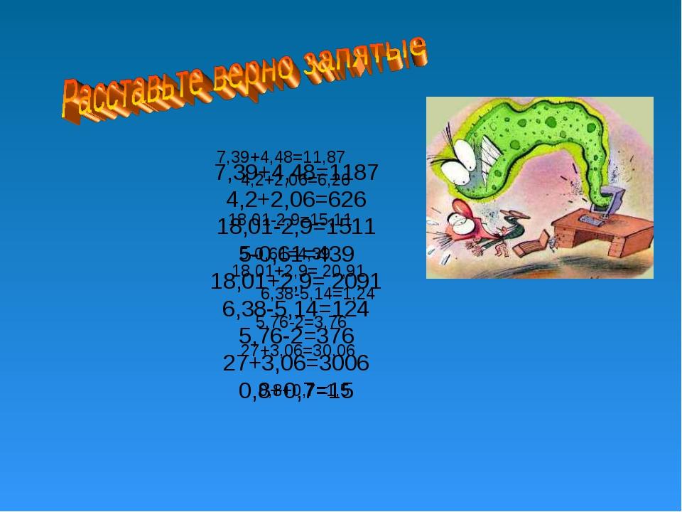 7,39+4,48=1187 4,2+2,06=626 18,01-2,9=1511 5-0,61=439 18,01+2,9= 2091 6,38-5,...