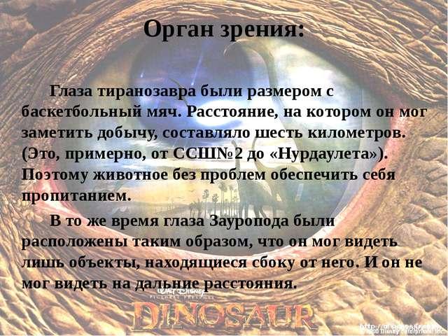 Орган зрения: Глаза тиранозавра были размером с баскетбольный мяч. Расстоян...