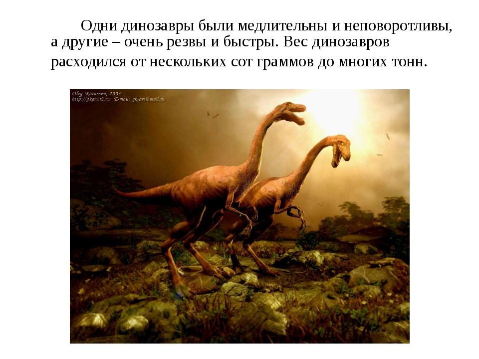 Одни динозавры были медлительны и неповоротливы, а другие – очень резвы и б...