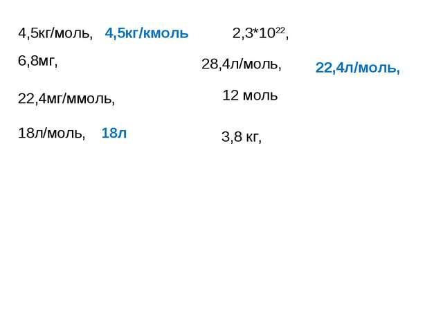 4,5кг/моль, 18л/моль, 3,8 кг, 2,3*1022, 28,4л/моль, 6,8мг, 22,4мг/ммоль, 12 м...