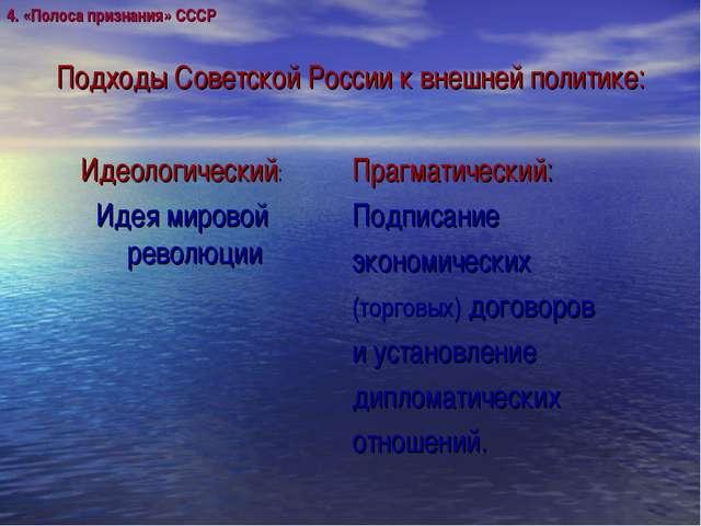 Подходы Советской России к внешней политике: Идеологический: Идея мировой рев...