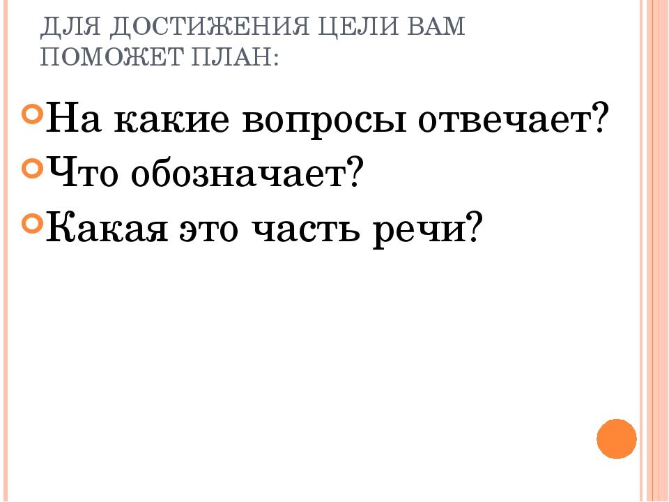 ДЛЯ ДОСТИЖЕНИЯ ЦЕЛИ ВАМ ПОМОЖЕТ ПЛАН: На какие вопросы отвечает? Что обознача...