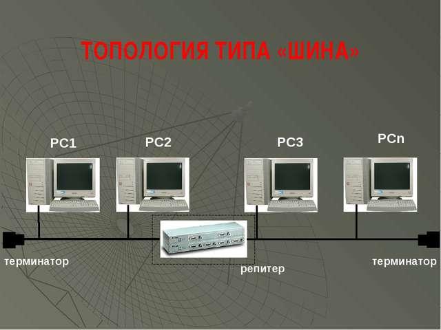 терминатор терминатор репитер PC1 PC2 PC3 PCn ТОПОЛОГИЯ ТИПА «ШИНА»