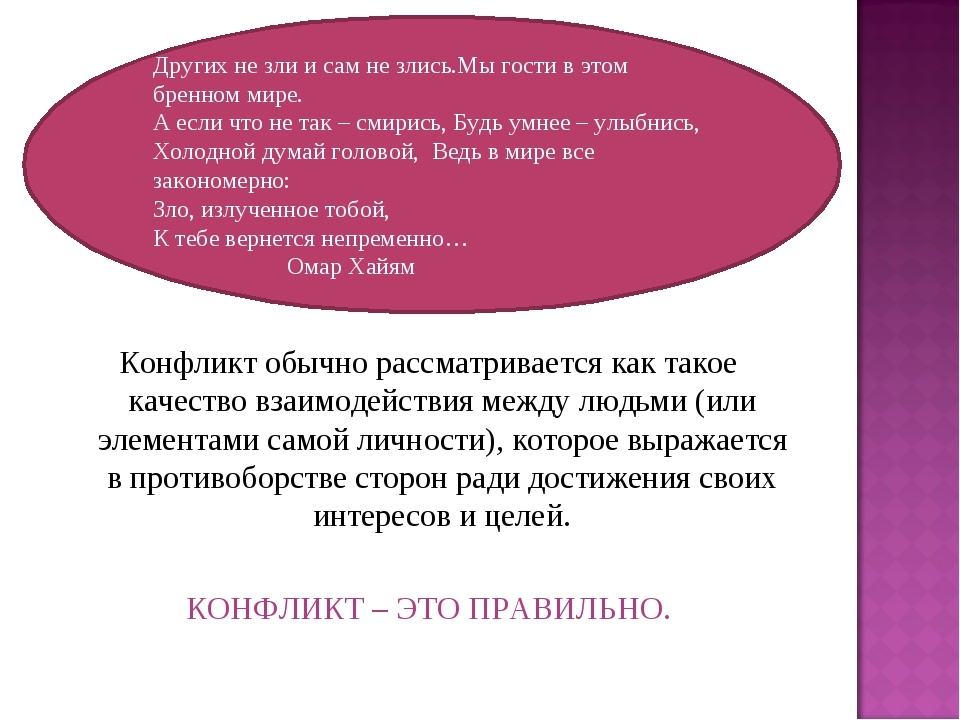 Конфликт обычно рассматривается как такое качество взаимодействия между людьм...