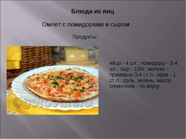 Блюда из яиц Омлет с помидорами и сыром яйцо - 4 шт.; помидоры - 3-4 шт.; сы...
