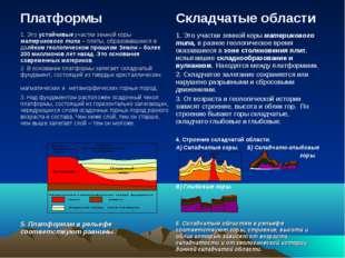 Платформы Складчатые области 1. Это устойчивые участки земной коры материков