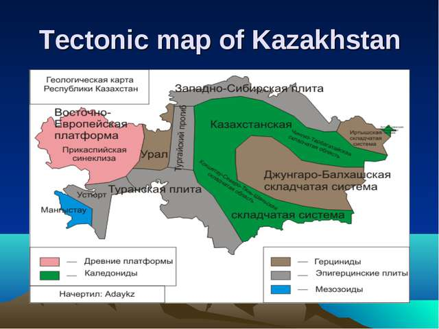 Tectonic map of Kazakhstan