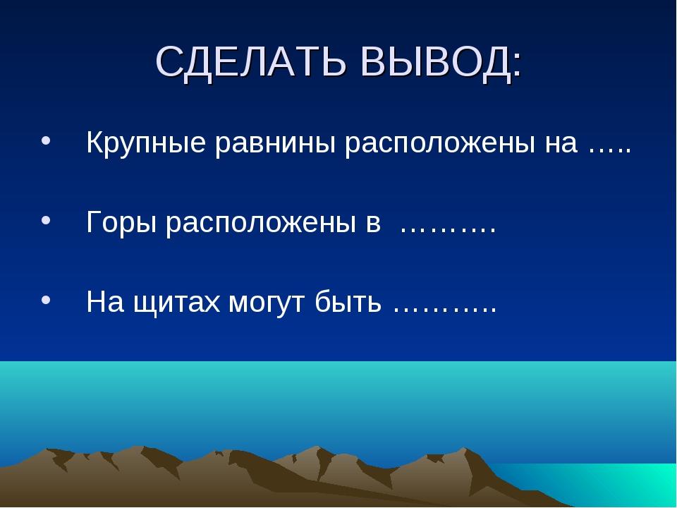 СДЕЛАТЬ ВЫВОД: Крупные равнины расположены на ….. Горы расположены в ………. На...
