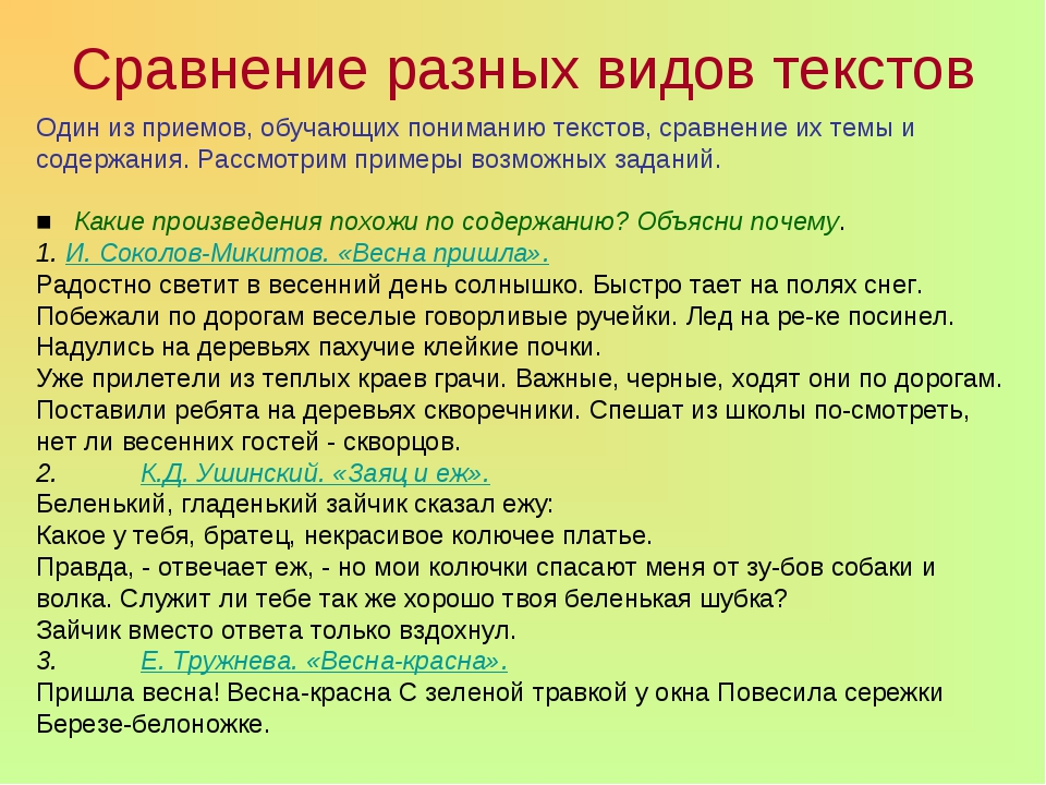 Сравнение разных видов текстов Один из приемов, обучающих пониманию текстов,...