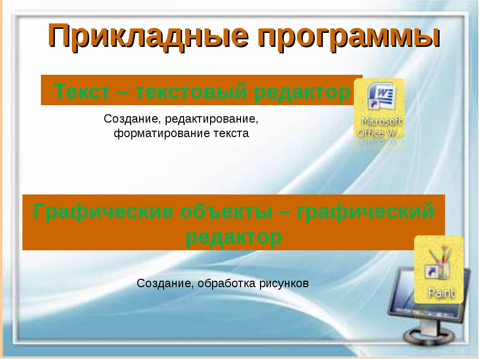 Прикладные программы Текст – текстовый редактор Графические объекты – графиче...