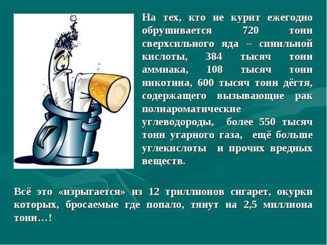 На тех, кто не курит ежегодно обрушивается 720 тонн сверхсильного яда – синил...